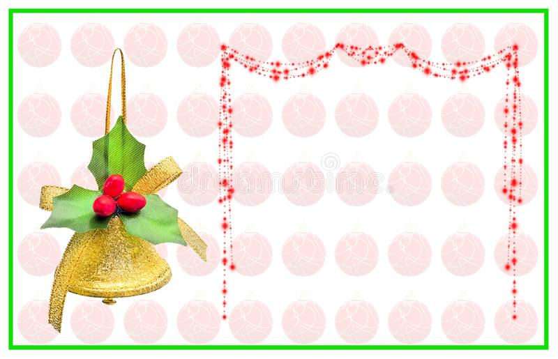 Tarjeta de Navidad con la campana, el arco de la escritura y las bolas rojas imagen de archivo