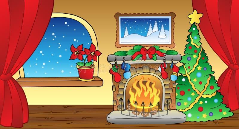 Tarjeta de Navidad con la chimenea 2 stock de ilustración