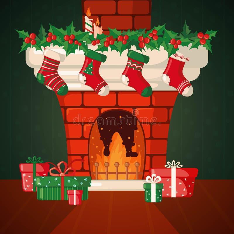 Tarjeta de Navidad con la chimenea y los calcetines stock de ilustración