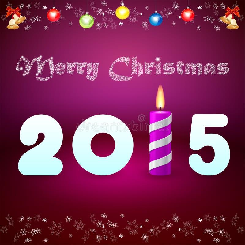 Tarjeta de Navidad con la inscripción 2015 y el cand púrpura ardiendo ilustración del vector