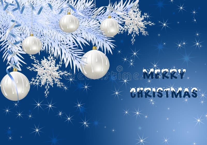 Tarjeta de Navidad con las bolas brillantes ilustración del vector