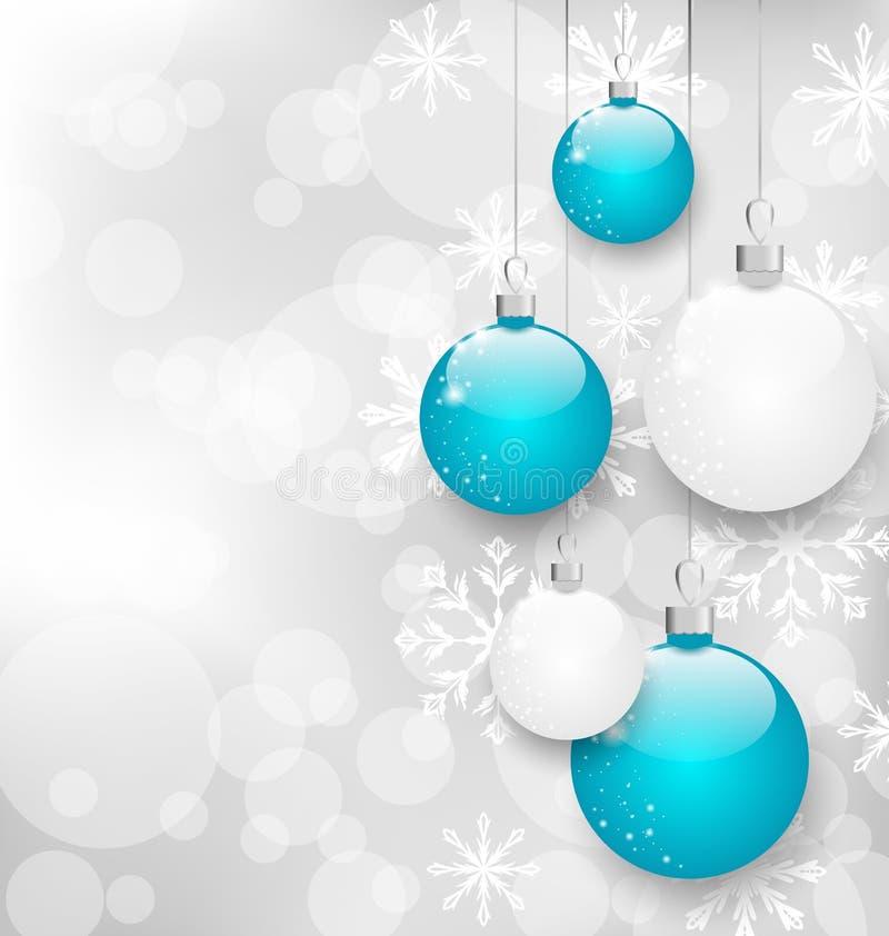 Tarjeta de Navidad con las bolas coloridas y espacio de la copia para su texto stock de ilustración