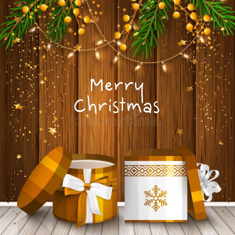 Tarjeta de Navidad con las cajas de regalo envueltas El abeto ramifica, las bombillas y las estrellas en fondo de madera Vector libre illustration