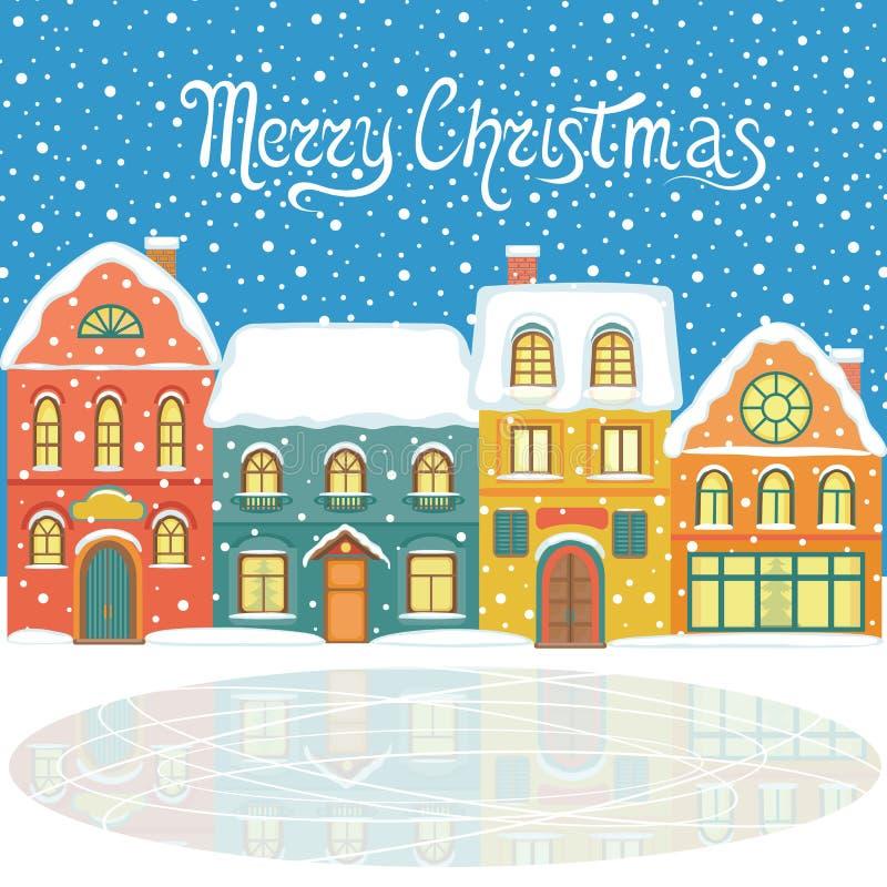 Tarjeta de Navidad con las casas nevosas stock de ilustración