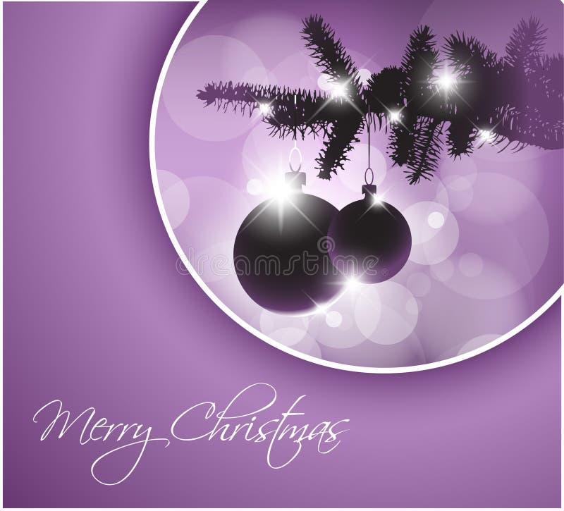 Tarjeta de Navidad con las decoraciones ilustración del vector