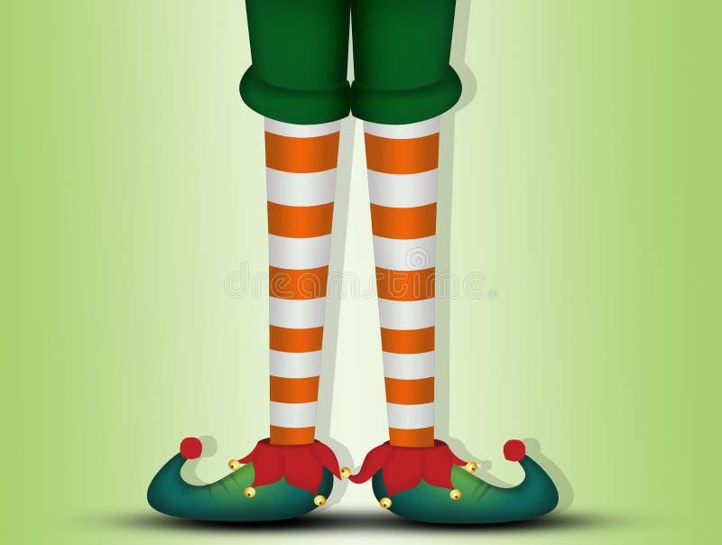 Tarjeta de Navidad con las piernas del duende stock de ilustración
