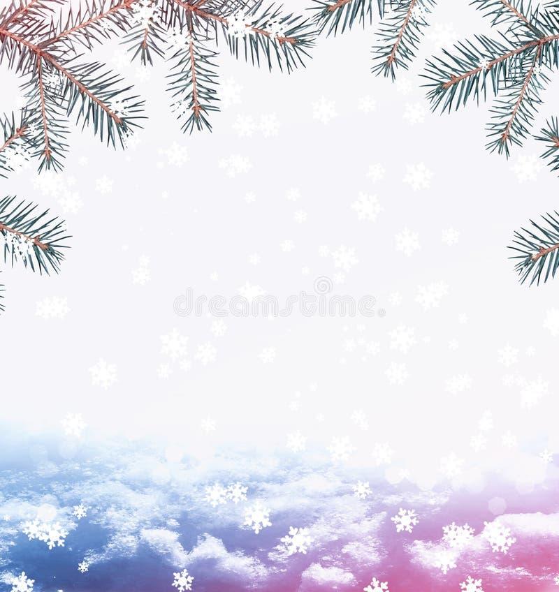 Tarjeta de Navidad con las ramas del abeto ilustración del vector
