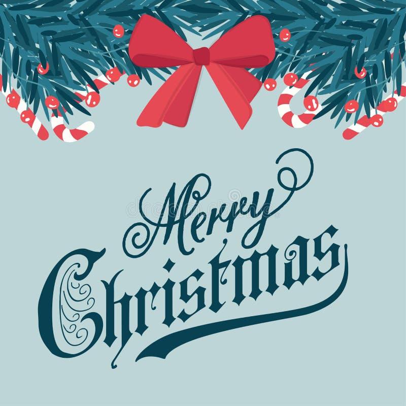 Tarjeta de Navidad con las ramas del abeto y los bastones de caramelo stock de ilustración