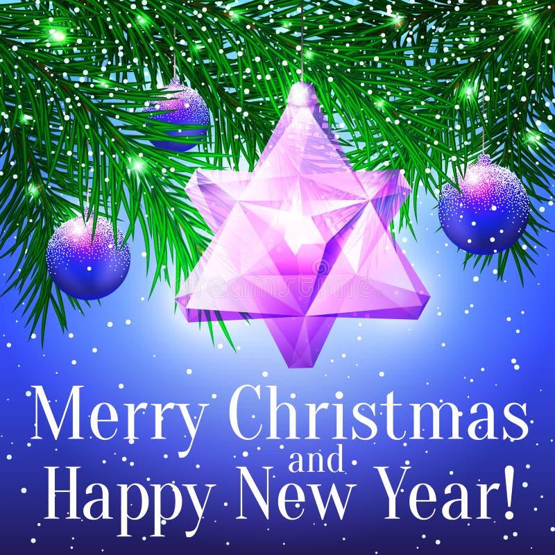 Tarjeta de Navidad con las ramitas del abeto, el juguete vidrioso inusual y el bal púrpura libre illustration