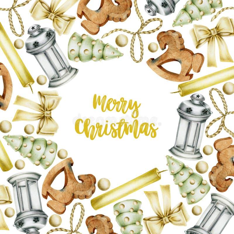 Tarjeta de Navidad con las velas exhaustas de los elementos de la Navidad de la mano, juguetes de madera, arcos, linterna de la N imagen de archivo
