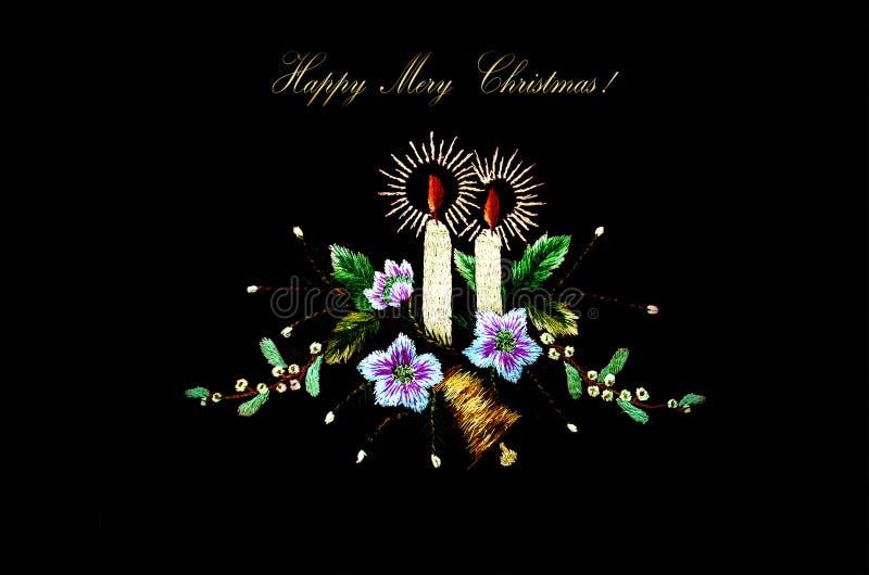 Tarjeta De Navidad Con Las Velas, La Campana Y Las Flores Ardientes ...