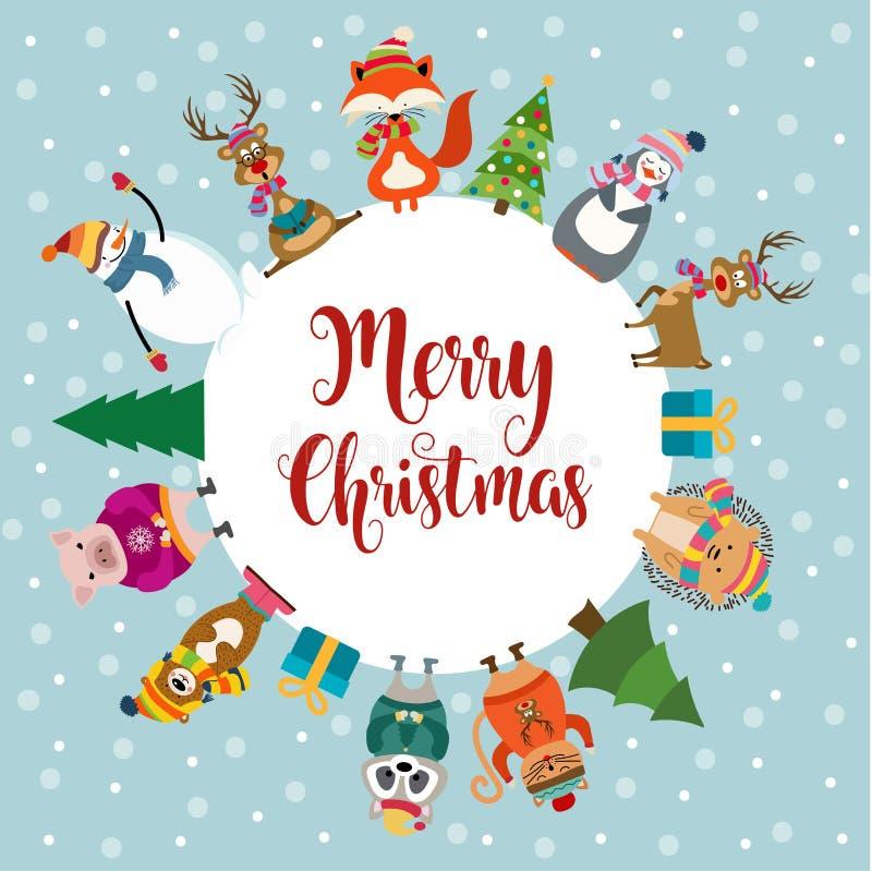 Tarjeta de Navidad con los animales vestidos lindos y los deseos stock de ilustración