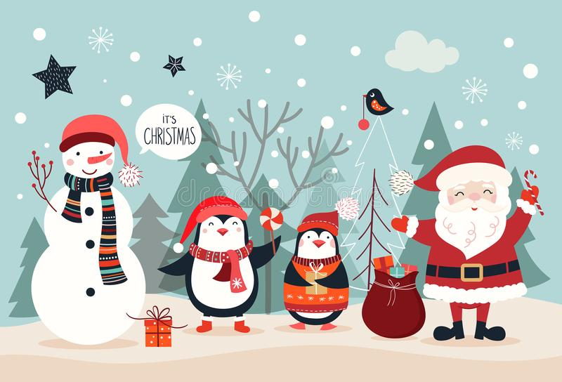 Tarjeta de Navidad con los caracteres divertidos dibujados mano ilustración del vector