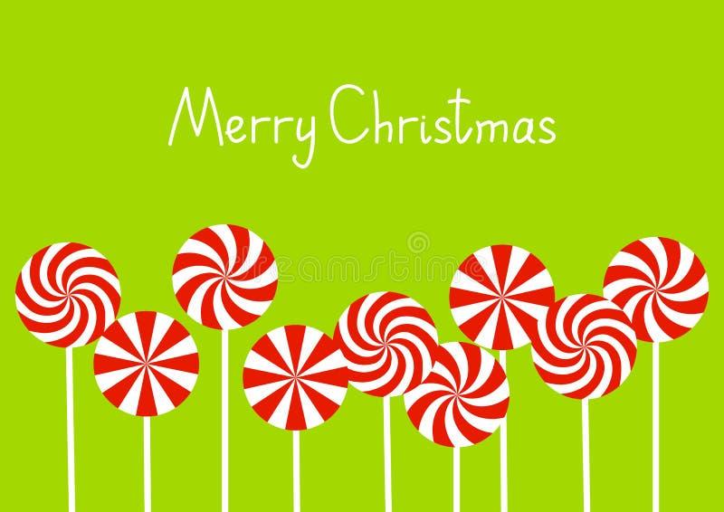 Tarjeta de Navidad con los caramelos stock de ilustración