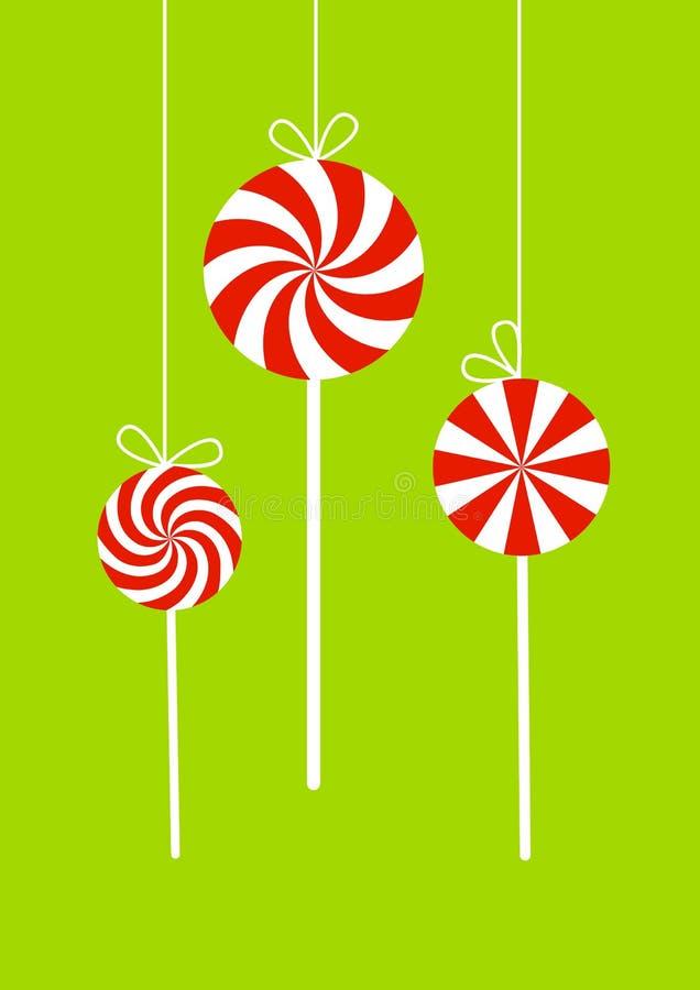 Tarjeta de Navidad con los caramelos rojos libre illustration