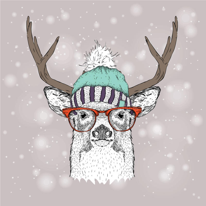 Tarjeta de Navidad con los ciervos en sombrero del invierno Diseño de letras de la Feliz Navidad Ilustración del vector libre illustration