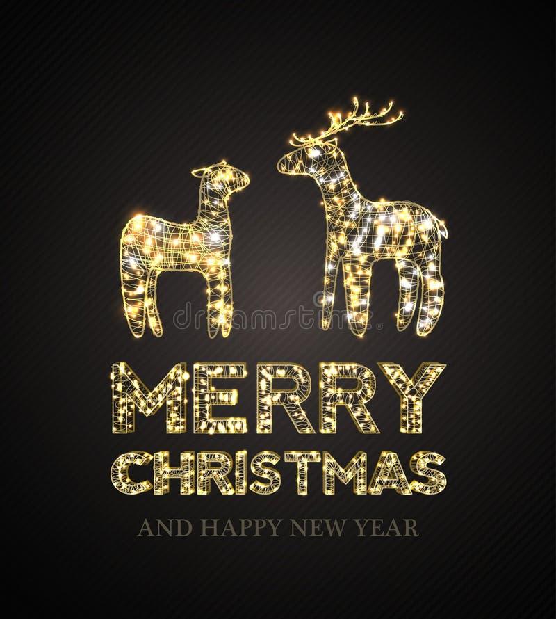 Tarjeta de Navidad con los ciervos mágicos y el fondo negro stock de ilustración