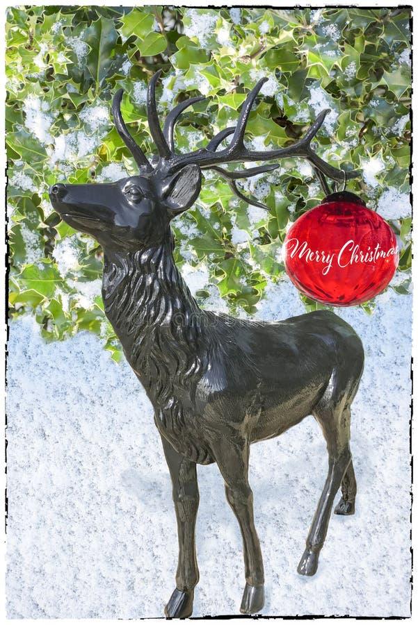 Tarjeta de Navidad con los ciervos y las bolas libre illustration