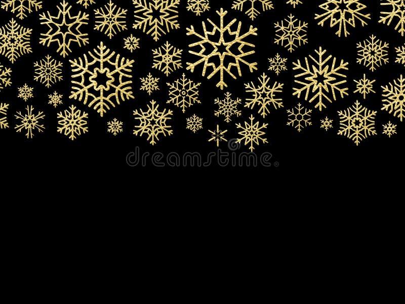 Tarjeta de Navidad con los copos de nieve del oro Elementos para la plantilla del diseño del día de fiesta del Año Nuevo EPS 10 libre illustration