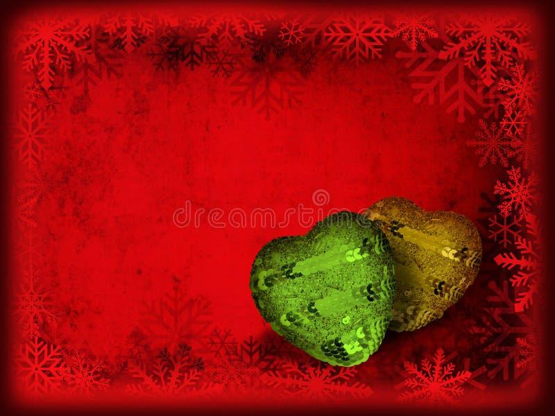Tarjeta de Navidad con los corazones fotos de archivo libres de regalías