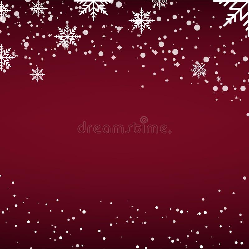 Tarjeta de Navidad con nieve que cae o copos de nieve en fondo rojo Vector stock de ilustración