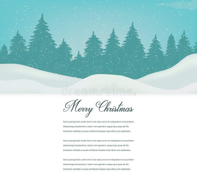 Tarjeta de Navidad con paisaje del invierno y espacio para el texto Vector libre illustration
