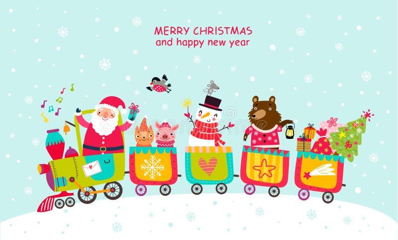 Tarjeta de Navidad con Papá Noel y animales en el tren Caracteres lindos libre illustration