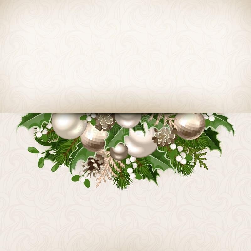 Tarjeta de Navidad con plata y la decoración blanca Vector EPS-10 libre illustration