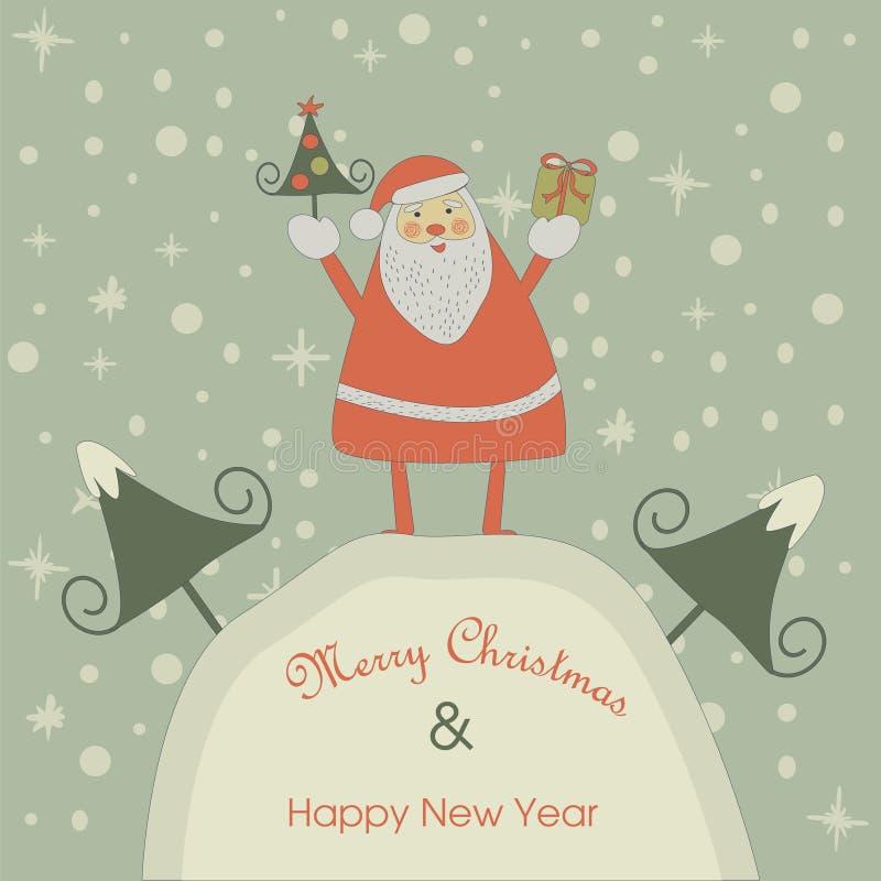 Tarjeta de Navidad con Santa Claus libre illustration
