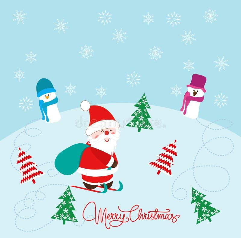Tarjeta de Navidad con Santa Claus, el muñeco de nieve y los árboles de navidad stock de ilustración
