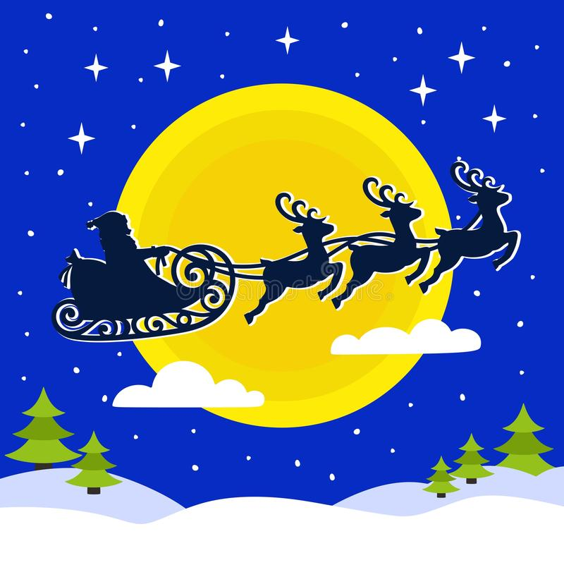 Tarjeta de Navidad con Santa Claus en un trineo con los ciervos en el fondo de una luna amarilla stock de ilustración