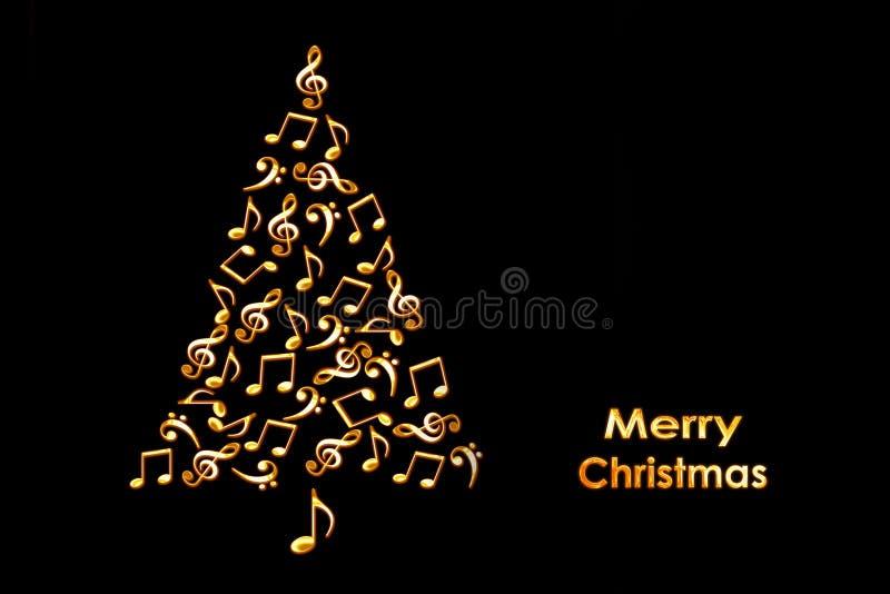 Tarjeta de Navidad con un árbol de navidad hecho de notas musicales de oro brillantes en negro ilustración del vector