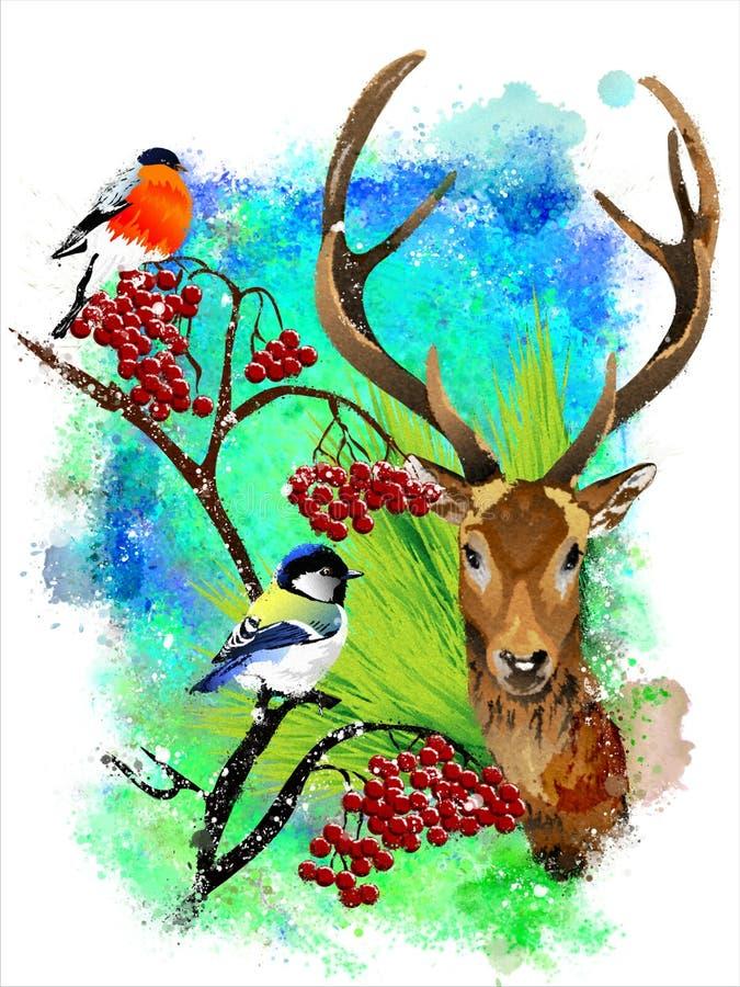 Tarjeta de Navidad con un ciervo en un fondo abstracto ilustración del vector