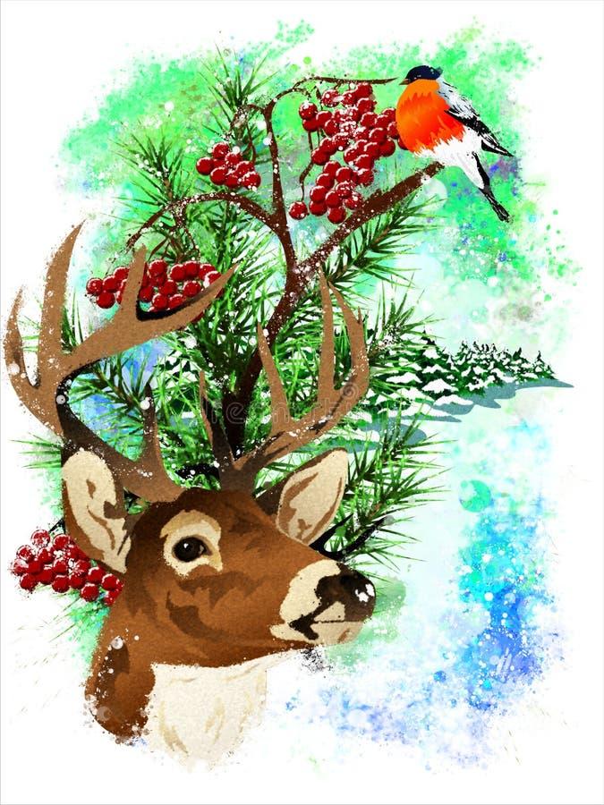 Tarjeta de Navidad con un ciervo y un piñonero libre illustration