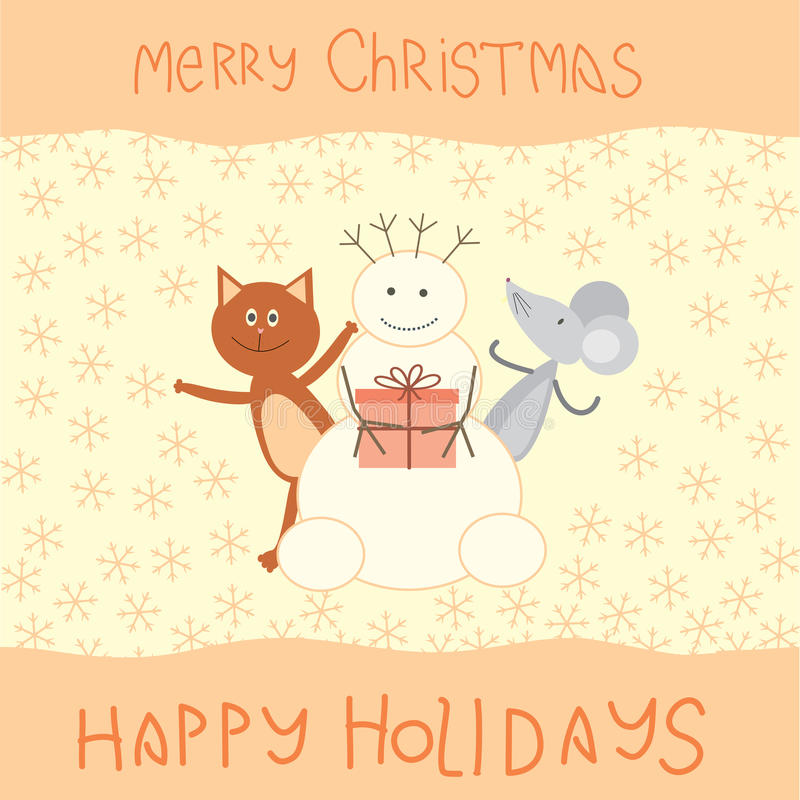 Tarjeta de Navidad con un gato, un ratón y un muñeco de nieve stock de ilustración