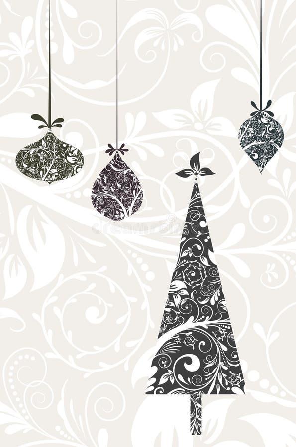 Tarjeta de Navidad con un ornamento, vector ilustración del vector