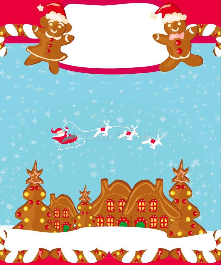 Tarjeta de Navidad con un pan de jengibre y Santa Claus ilustración del vector