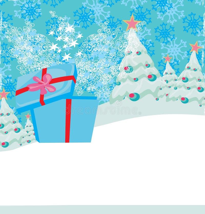 Tarjeta de Navidad con un regalo de la sorpresa y un landscap del invierno libre illustration