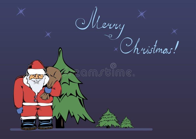 Tarjeta de Navidad con una imagen de Santa Claus stock de ilustración