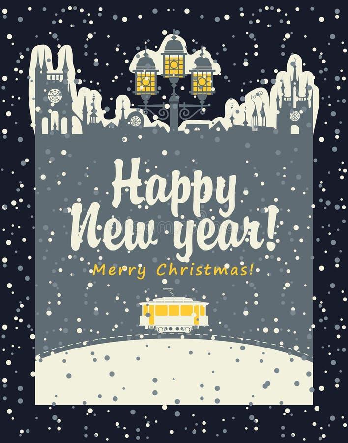 Tarjeta de Navidad con una tranvía vieja libre illustration