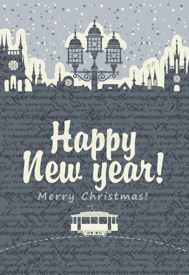 Tarjeta de Navidad con una tranvía vieja stock de ilustración