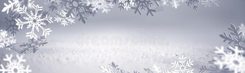 Tarjeta de Navidad - copos de nieve del papel ilustración del vector
