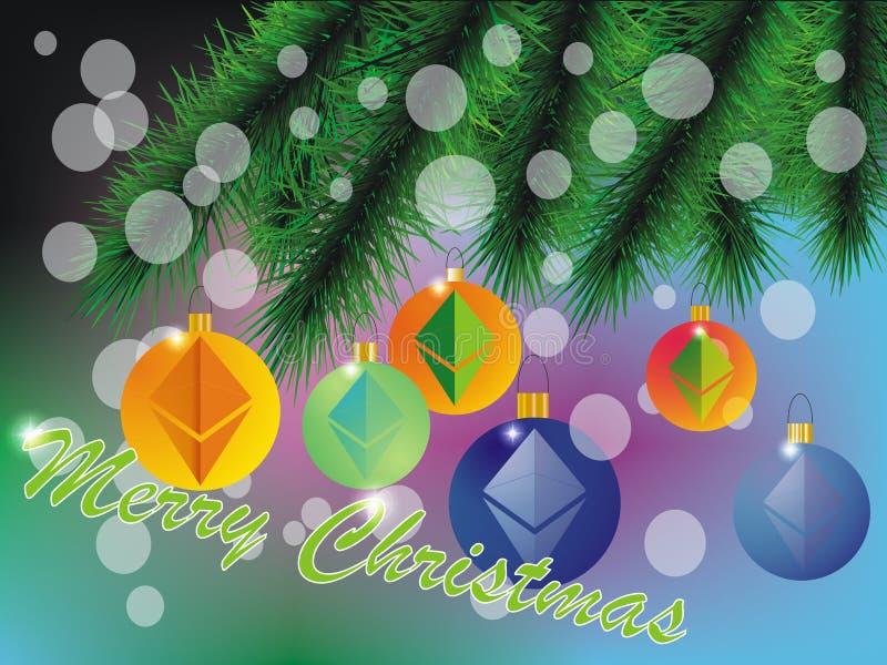 Tarjeta de Navidad de Ethereum libre illustration