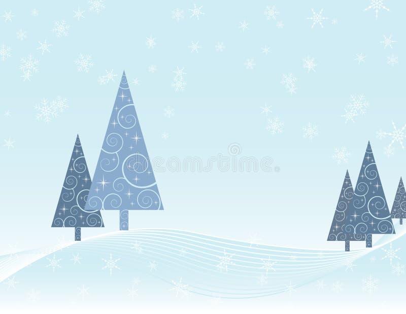 Tarjeta de Navidad de la escena del invierno libre illustration