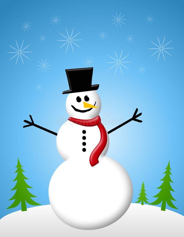 Tarjeta de Navidad de la escena del muñeco de nieve ilustración del vector