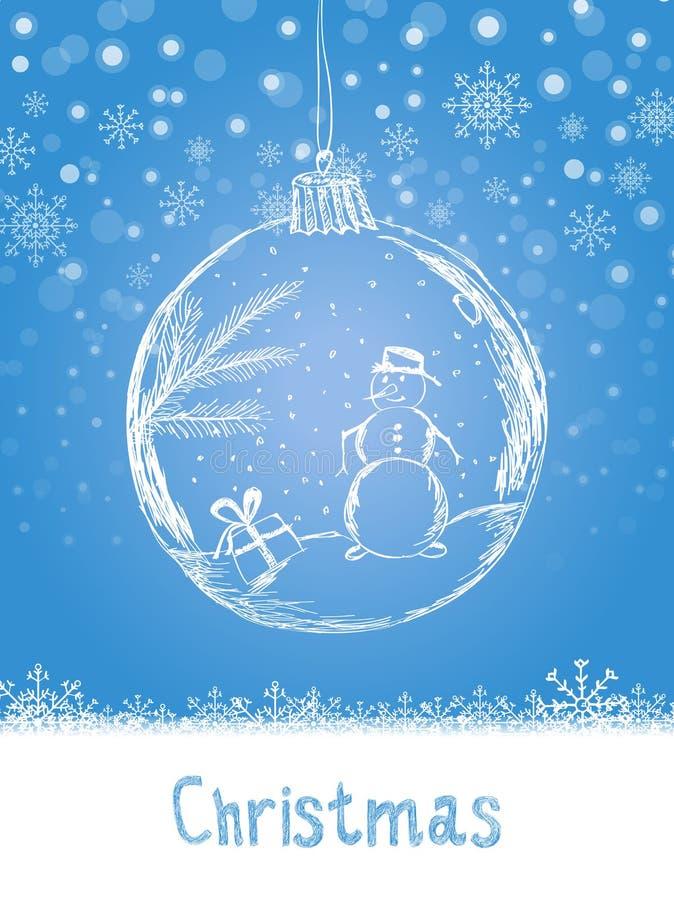 Tarjeta de Navidad de la escritura con la bola y muñeco de nieve para la celebración de la Feliz Navidad en fondo azul de la niev stock de ilustración