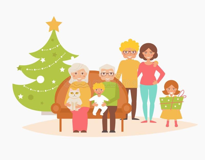 Tarjeta de Navidad de la familia ilustración del vector