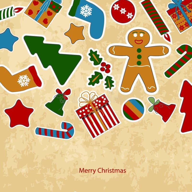 Tarjeta de Navidad de la vendimia stock de ilustración