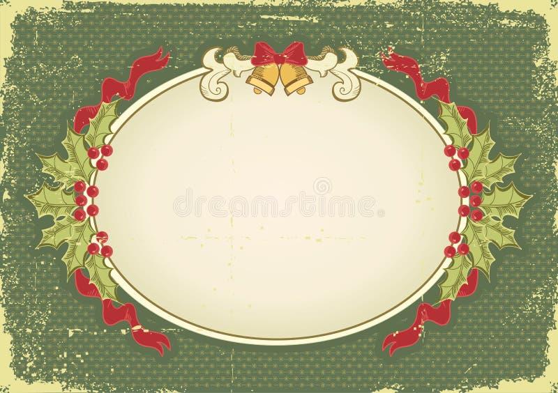 Tarjeta de Navidad de la vendimia con los elementos del día de fiesta libre illustration