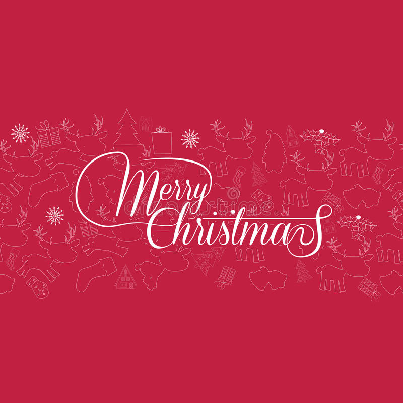 Tarjeta de Navidad de la vendimia Deletreado de la Feliz Navidad libre illustration